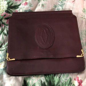 Authentic Cartier leather clutch purse bag